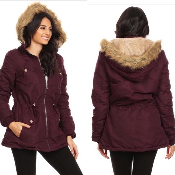 Maroon Parka Coat